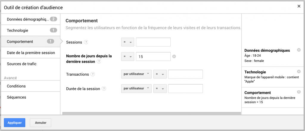 Formulaire création d'audience Google Analytics